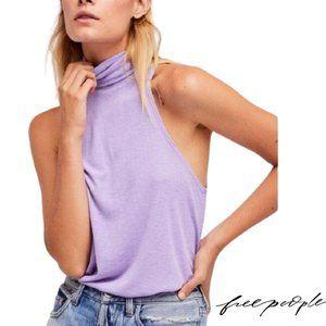 Free People Lilac Sleeveless Turtleneck Top